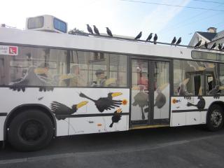 ザルツブルクの市内を走るカラスの絵や置物が付いたバス