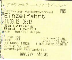 ザルツブルクからバートイッシュル行きのバスのチケット