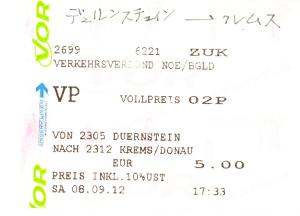 デュルンシュタインからクレムスまでのバスのチケット