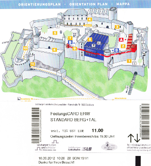 ホーエンザルツブルク城塞nの見取り図とチケット