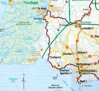 ウエスト・サウスランド地方の地図