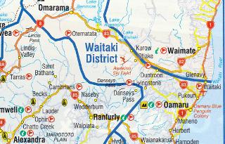 NZのワイタキ地方の地図