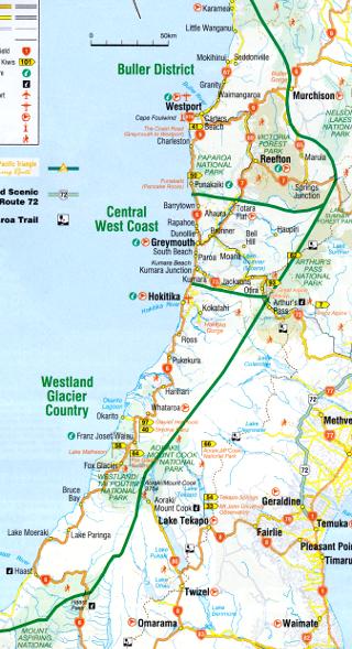 ウエストランド地方の地図