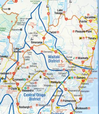 ワイタキ地方の地図