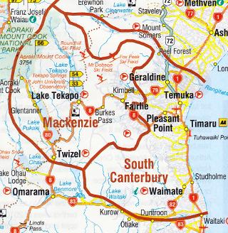 南カンタベリー地方の地図
