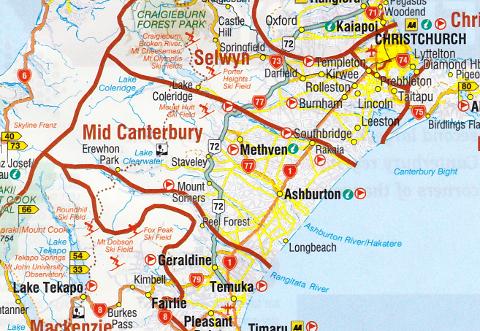 カンタベリー地方の地図