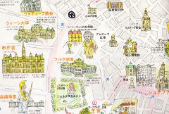 ホテル・ド・フランスでいただいたウィーン市内の地図。地図上のマークはホテル・ド・フランス