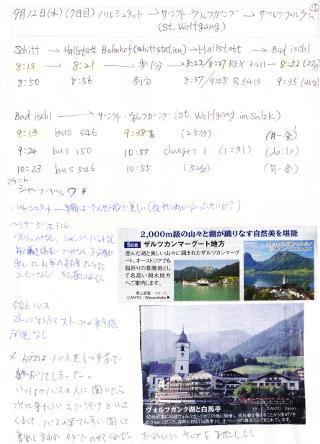 旅行7日目の交通機関の時刻の下調べノート