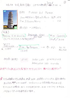 ピサの斜塔へ行く予定表