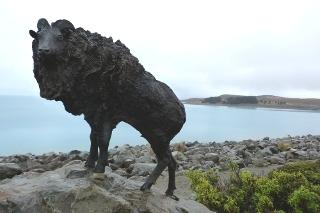 プカキ湖畔のヒツジの像
