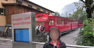 シャーフベルク山に登る登山鉄道の駅に止まっている列車