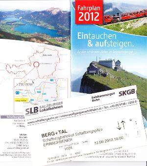 登山鉄道のパンフレットとチケット