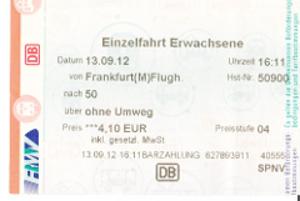 フランクフルト空港からフランクフルト中央駅までの電車の切符