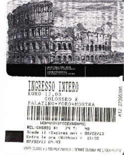 パラティーノの丘の共通券(大人1人12ユーロ)
