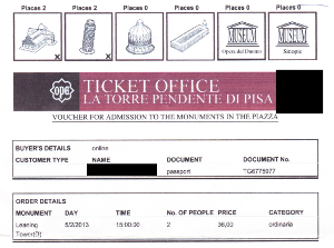 ピサの斜塔とドゥオモの入場券