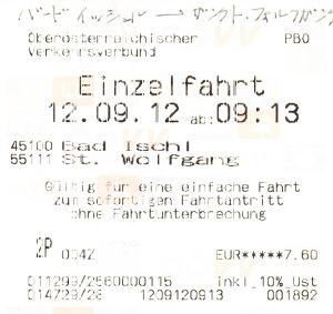 バート・イシュルからザンクト・ヴォルフガングへ向かうバスのチケット