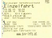 ザンクト・ギルゲンからザルツブルクまでのチケット