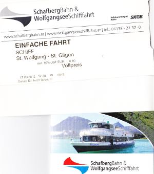 ザンクト・ヴォルフガングからザンクト・ギルゲンまでの船のチケット