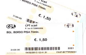 ピサ中央駅から乗ったバスのチケット