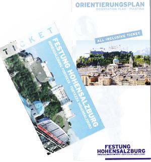 ホーエンザルツブルク城塞のパンフレットとチケット