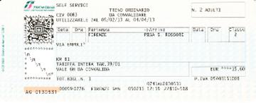 トレインイタリア(鉄道)の切符