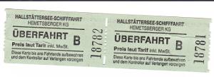 ハルシュタット湖の渡し船のチケット