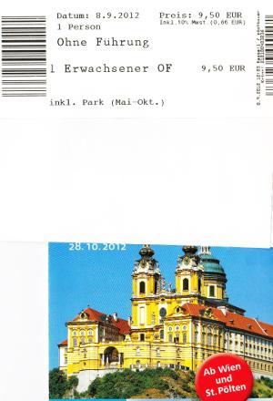 メルク修道院のパンフレットとチケット