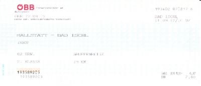 バート・イッシュルからハルシュタットへの国鉄のチケット