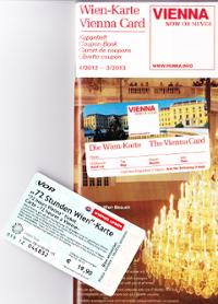 ウィーン市内の地下鉄、トラム、バスが72時間乗り放題で見所の入場料割引などの特典付きカード